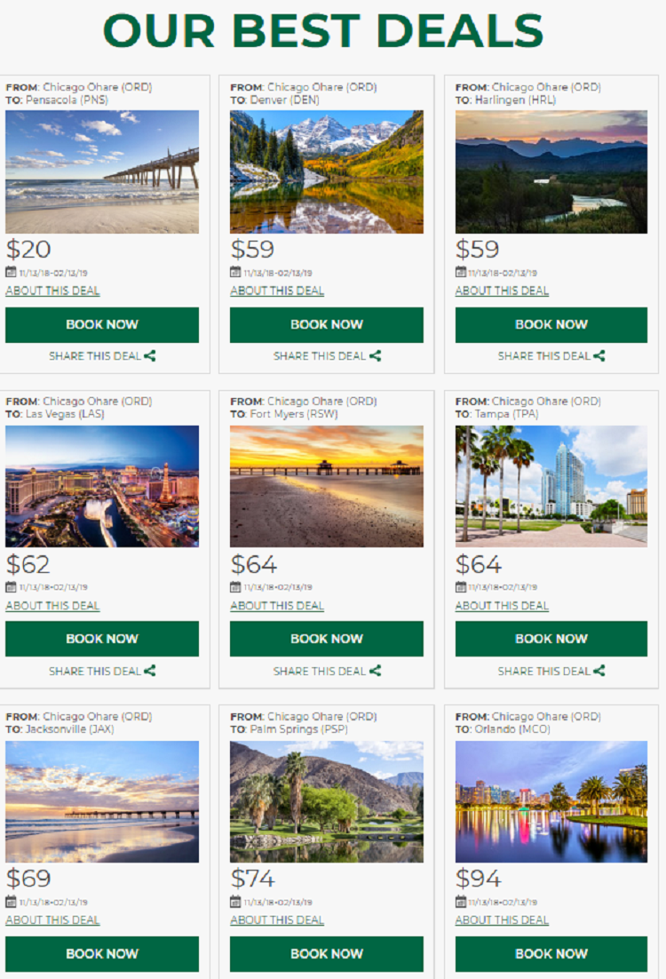 deals on frontier from chicago